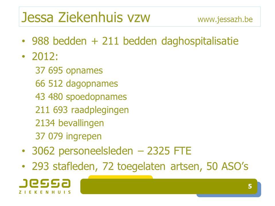 Jessa Ziekenhuis vzw www.jessazh.be 988 bedden + 211 bedden daghospitalisatie 2012: 37 695 opnames 66 512 dag-opnames 43 480 spoedopnames 211 693 raadplegingen 2134 bevallingen 37 079 ingrepen 3062 personeelsleden – 2325 FTE 293 stafleden, 72 toegelaten artsen, 50 ASO's 6