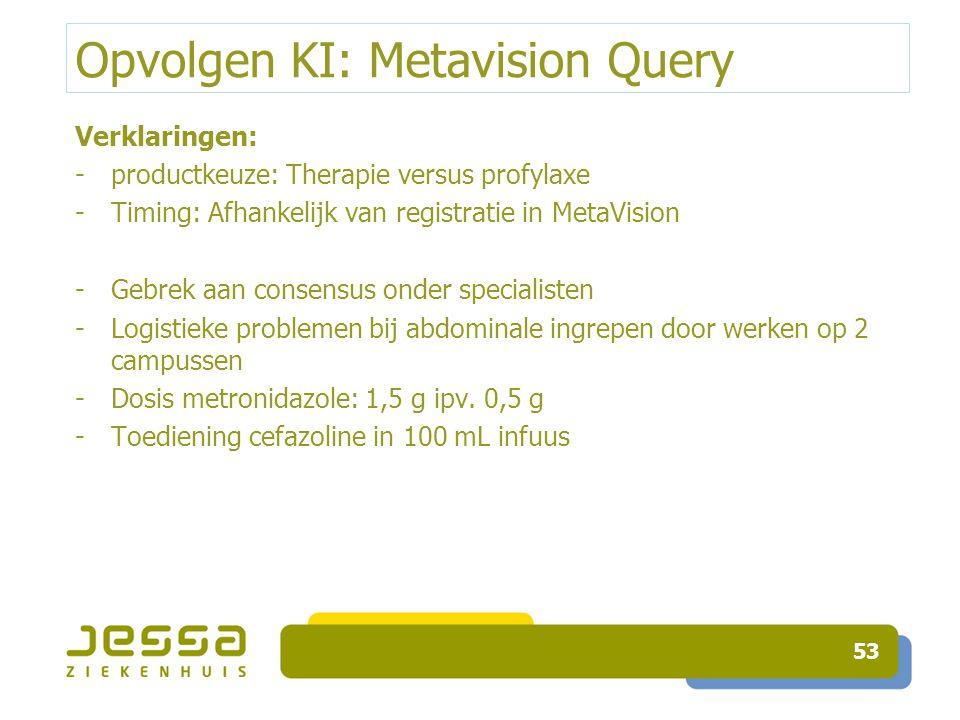Opvolgen KI: Metavision Query Verklaringen: -productkeuze: Therapie versus profylaxe -Timing: Afhankelijk van registratie in MetaVision -Gebrek aan co