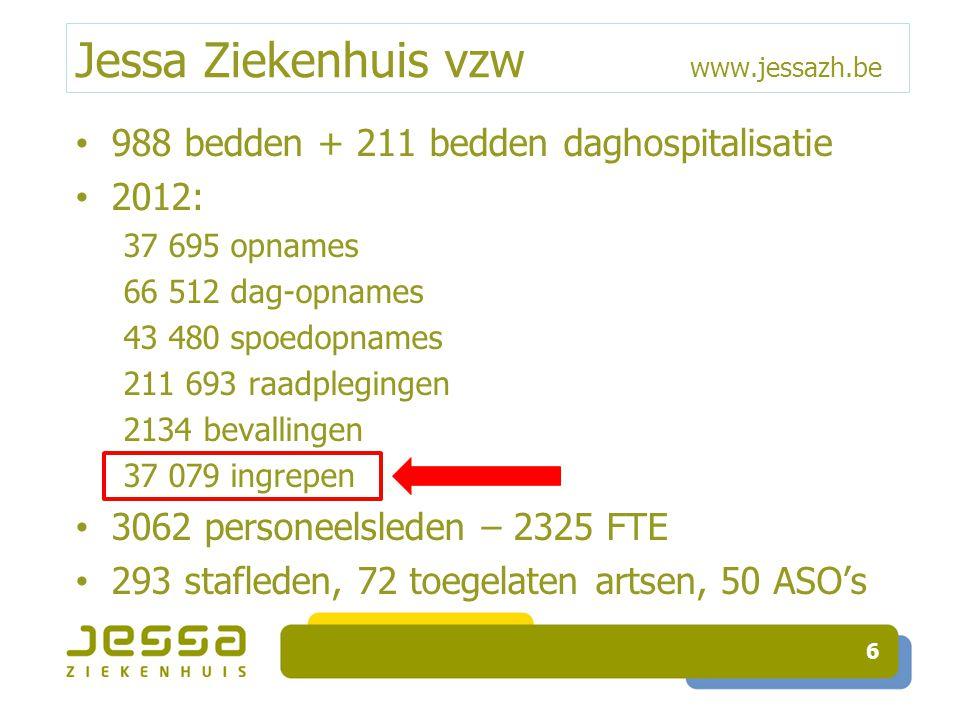 Jessa Ziekenhuis vzw www.jessazh.be 988 bedden + 211 bedden daghospitalisatie 2012: 37 695 opnames 66 512 dag-opnames 43 480 spoedopnames 211 693 raad