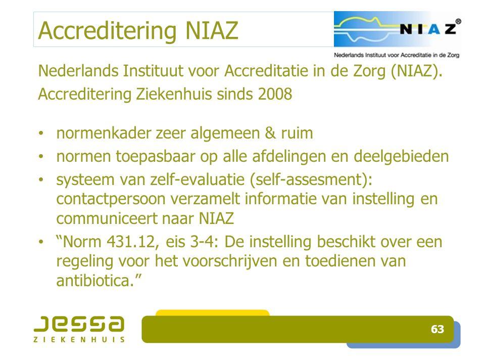 Accreditering NIAZ Nederlands Instituut voor Accreditatie in de Zorg (NIAZ). Accreditering Ziekenhuis sinds 2008 normenkader zeer algemeen & ruim norm