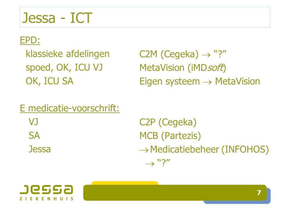 """Jessa - ICT EPD: klassieke afdelingen spoed, OK, ICU VJ OK, ICU SA E medicatie-voorschrift: VJ SA Jessa 7 C2M (Cegeka)  """"?"""" MetaVision (iMDsoft) Eige"""