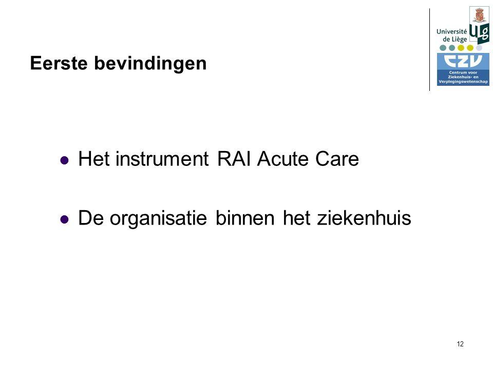 12 Eerste bevindingen Het instrument RAI Acute Care De organisatie binnen het ziekenhuis