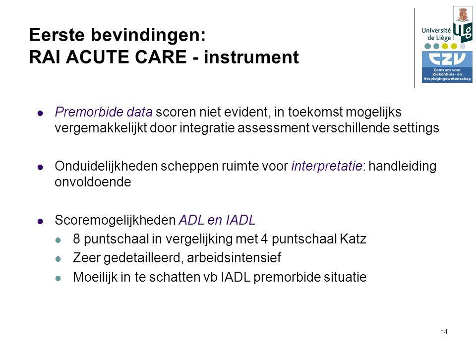 14 Eerste bevindingen: RAI ACUTE CARE - instrument Premorbide data scoren niet evident, in toekomst mogelijks vergemakkelijkt door integratie assessment verschillende settings Onduidelijkheden scheppen ruimte voor interpretatie: handleiding onvoldoende Scoremogelijkheden ADL en IADL 8 puntschaal in vergelijking met 4 puntschaal Katz Zeer gedetailleerd, arbeidsintensief Moeilijk in te schatten vb IADL premorbide situatie