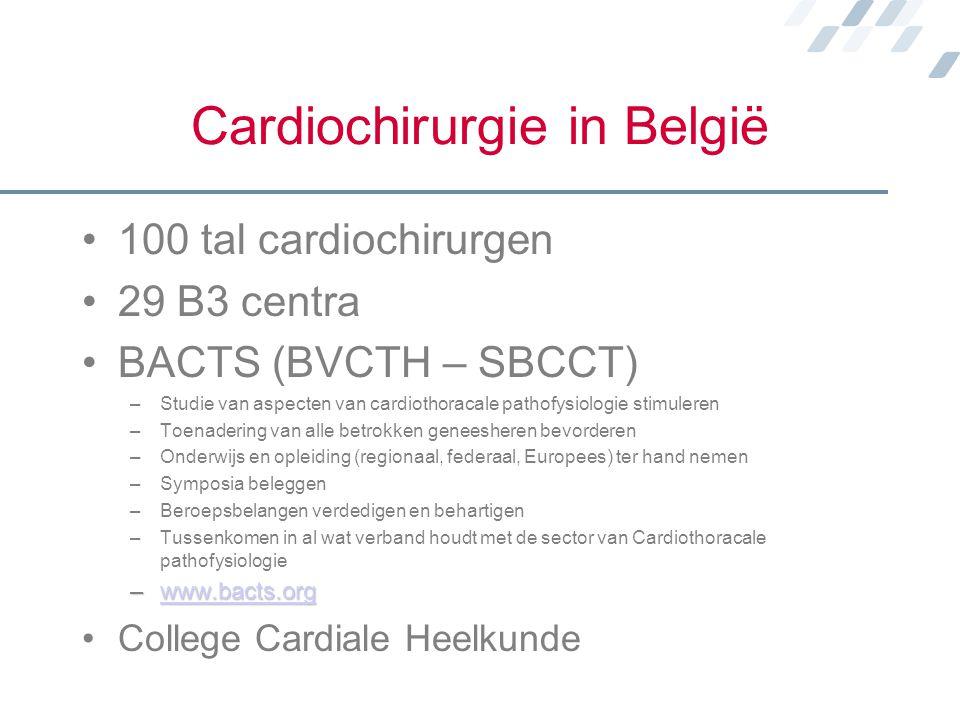 Cardiochirurgie in België 100 tal cardiochirurgen 29 B3 centra BACTS (BVCTH – SBCCT) –Studie van aspecten van cardiothoracale pathofysiologie stimuler