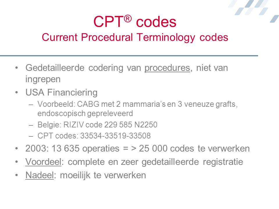 CPT ® codes Current Procedural Terminology codes Gedetailleerde codering van procedures, niet van ingrepen USA Financiering –Voorbeeld: CABG met 2 mam
