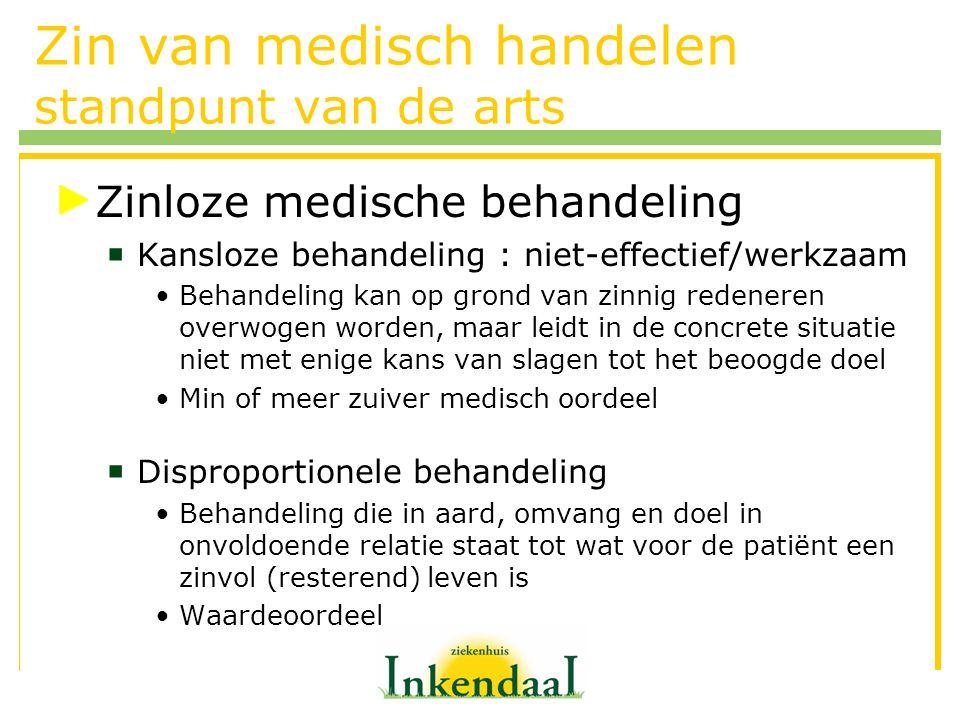 Zin van medisch handelen standpunt van de arts Zinloze medische behandeling  Kansloze behandeling : niet-effectief/werkzaam Behandeling kan op grond