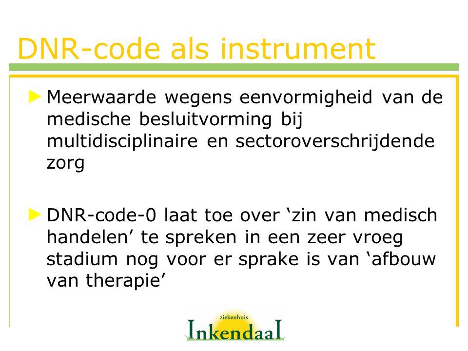 DNR-code als instrument Meerwaarde wegens eenvormigheid van de medische besluitvorming bij multidisciplinaire en sectoroverschrijdende zorg DNR-code-0
