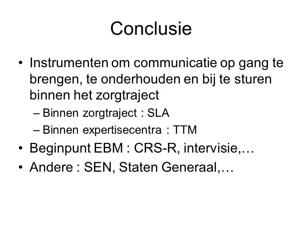 Conclusie Instrumenten om communicatie op gang te brengen, te onderhouden en bij te sturen binnen het zorgtraject –Binnen zorgtraject : SLA –Binnen ex