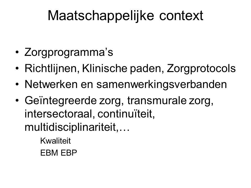 Maatschappelijke context Zorgprogramma's Richtlijnen, Klinische paden, Zorgprotocols Netwerken en samenwerkingsverbanden Geïntegreerde zorg, transmura