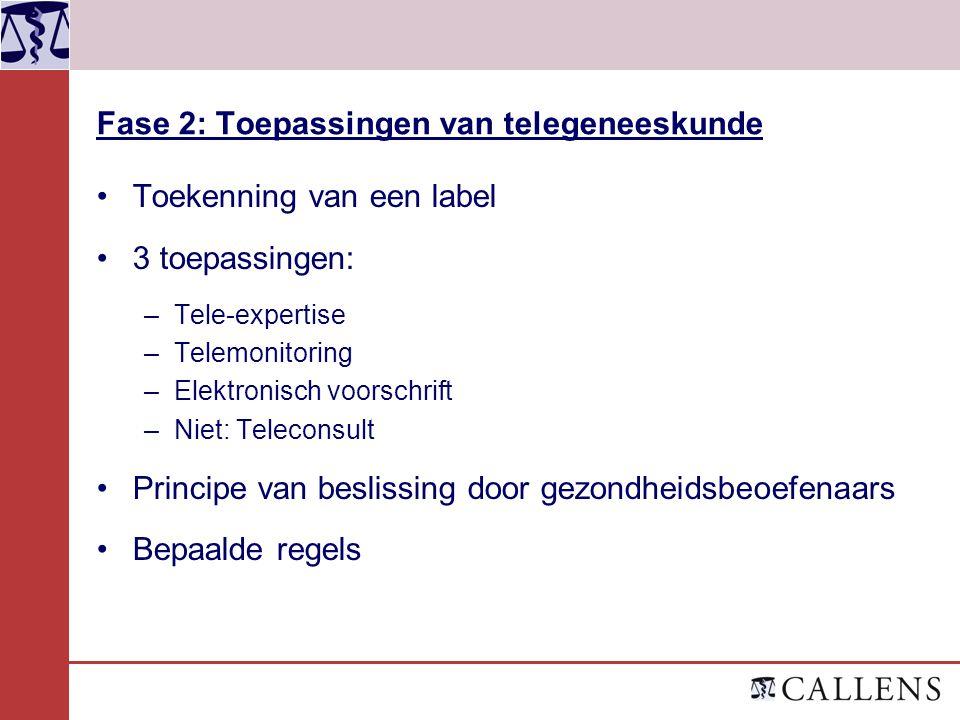 Fase 2: Toepassingen van telegeneeskunde Toekenning van een label 3 toepassingen: –Tele-expertise –Telemonitoring –Elektronisch voorschrift –Niet: Tel