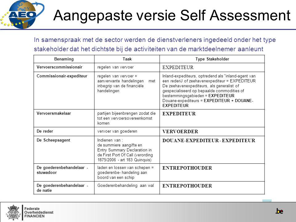 Aangepaste versie Self Assessment In samenspraak met de sector werden de dienstverleners ingedeeld onder het type stakeholder dat het dichtste bij de