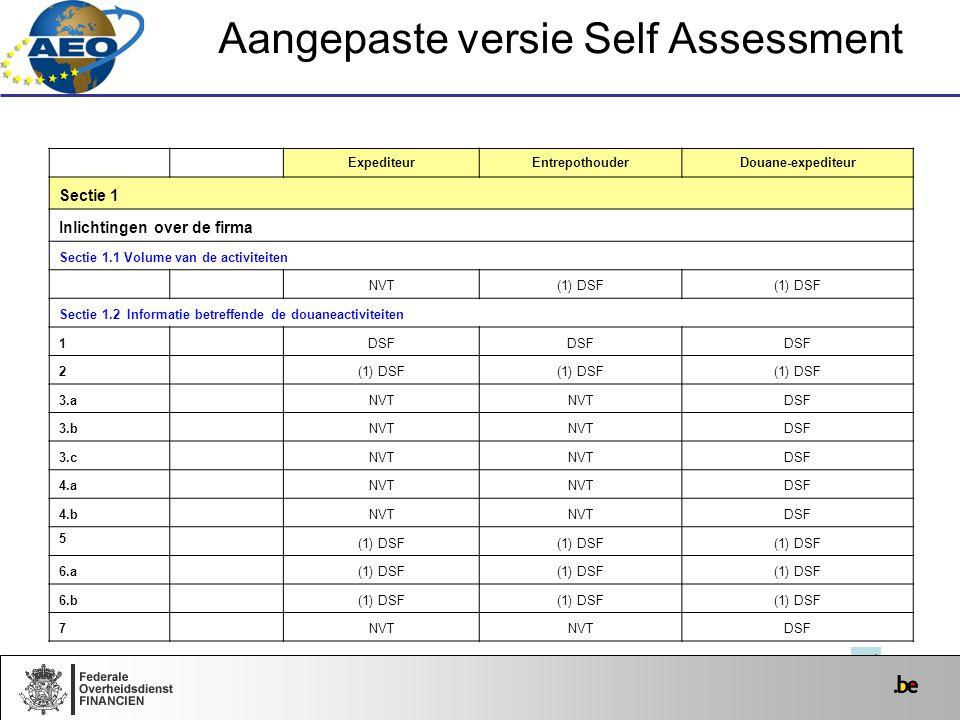 Aangepaste versie Self Assessment ExpediteurEntrepothouderDouane-expediteur Sectie 1 Inlichtingen over de firma Sectie 1.1 Volume van de activiteiten