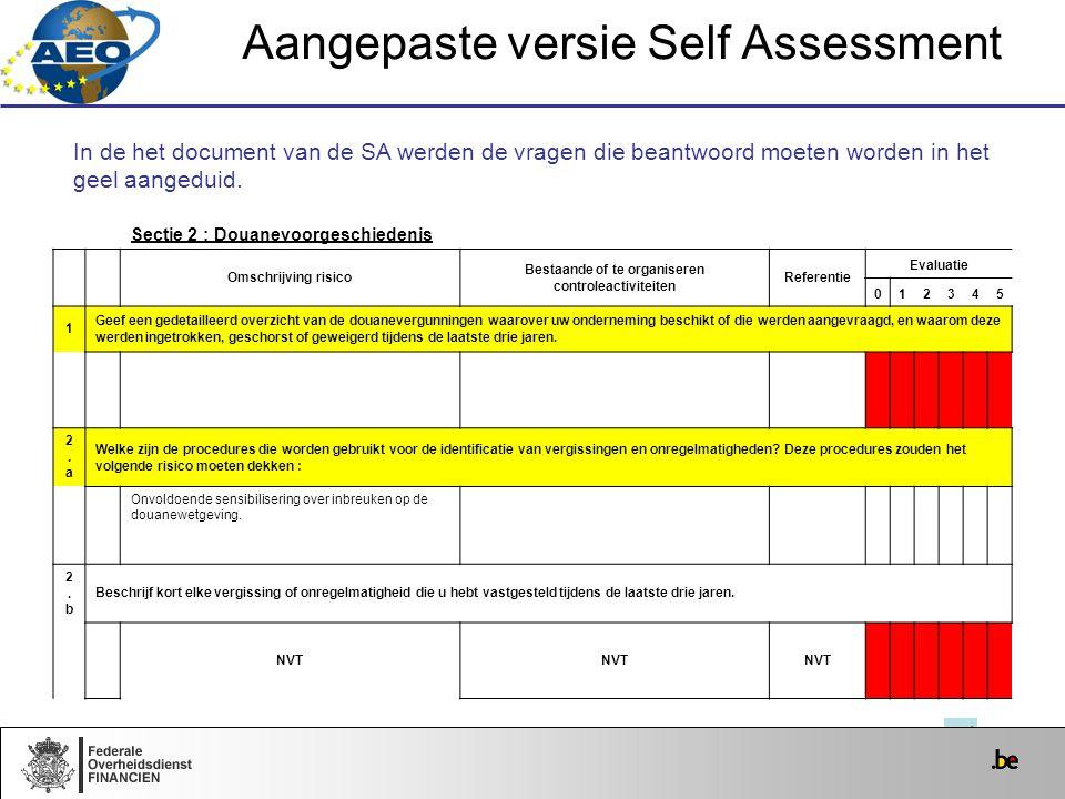Aangepaste versie Self Assessment In de het document van de SA werden de vragen die beantwoord moeten worden in het geel aangeduid. Sectie 2 : Douanev