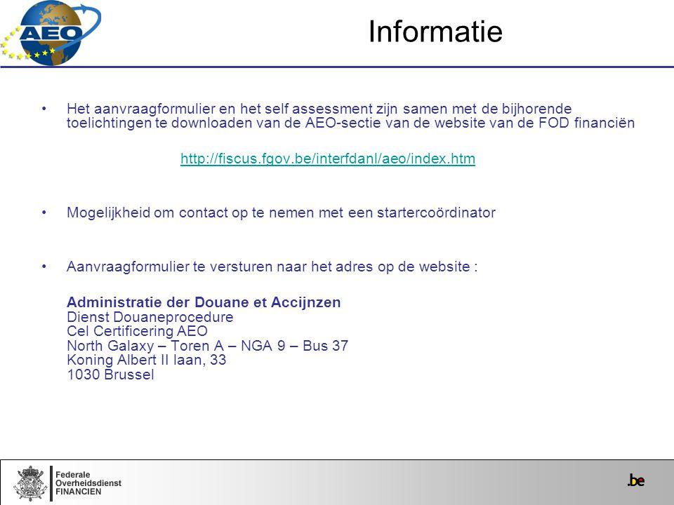 Het aanvraagformulier en het self assessment zijn samen met de bijhorende toelichtingen te downloaden van de AEO-sectie van de website van de FOD fina