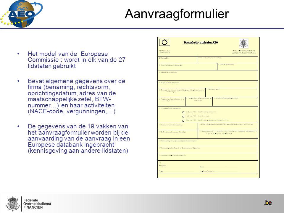 Het model van de Europese Commissie : wordt in elk van de 27 lidstaten gebruikt Bevat algemene gegevens over de firma (benaming, rechtsvorm, oprichtin