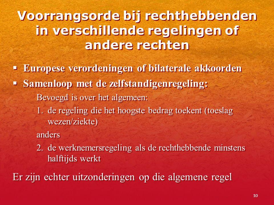 10 Voorrangsorde bij rechthebbenden in verschillende regelingen of andere rechten  Europese verordeningen of bilaterale akkoorden  Samenloop met de