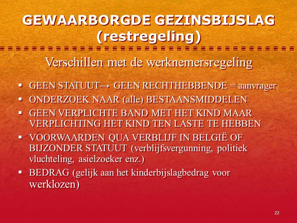 22 GEWAARBORGDE GEZINSBIJSLAG (restregeling) Verschillen met de werknemersregeling  GEEN STATUUT→ GEEN RECHTHEBBENDE = aanvrager  ONDERZOEK NAAR (al