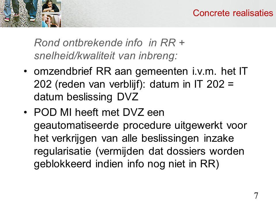Concrete realisaties Rond ontbrekende info in RR + snelheid/kwaliteit van inbreng: omzendbrief RR aan gemeenten i.v.m.