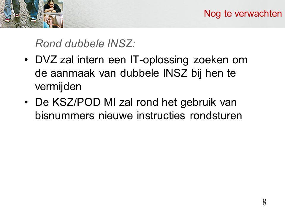 Nog te verwachten Rond dubbele INSZ: DVZ zal intern een IT-oplossing zoeken om de aanmaak van dubbele INSZ bij hen te vermijden De KSZ/POD MI zal rond het gebruik van bisnummers nieuwe instructies rondsturen 8