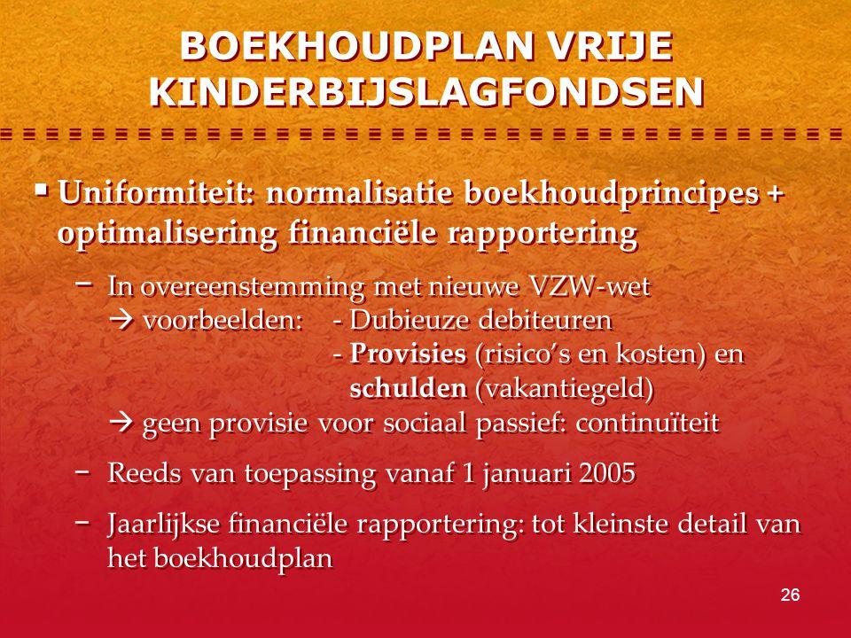 26 BOEKHOUDPLAN VRIJE KINDERBIJSLAGFONDSEN  Uniformiteit: normalisatie boekhoudprincipes + optimalisering financiële rapportering − In overeenstemming met nieuwe VZW-wet  voorbeelden:- Dubieuze debiteuren - Provisies (risico's en kosten) en schulden (vakantiegeld)  geen provisie voor sociaal passief: continuïteit − Reeds van toepassing vanaf 1 januari 2005 − Jaarlijkse financiële rapportering: tot kleinste detail van het boekhoudplan  Uniformiteit: normalisatie boekhoudprincipes + optimalisering financiële rapportering − In overeenstemming met nieuwe VZW-wet  voorbeelden:- Dubieuze debiteuren - Provisies (risico's en kosten) en schulden (vakantiegeld)  geen provisie voor sociaal passief: continuïteit − Reeds van toepassing vanaf 1 januari 2005 − Jaarlijkse financiële rapportering: tot kleinste detail van het boekhoudplan