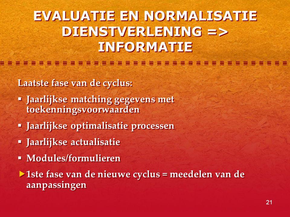 21 EVALUATIE EN NORMALISATIE DIENSTVERLENING => INFORMATIE Laatste fase van de cyclus:  Jaarlijkse matching gegevens met toekenningsvoorwaarden  Jaarlijkse optimalisatie processen  Jaarlijkse actualisatie  Modules/formulieren  1ste fase van de nieuwe cyclus = meedelen van de aanpassingen Laatste fase van de cyclus:  Jaarlijkse matching gegevens met toekenningsvoorwaarden  Jaarlijkse optimalisatie processen  Jaarlijkse actualisatie  Modules/formulieren  1ste fase van de nieuwe cyclus = meedelen van de aanpassingen