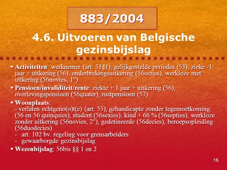 15 4.6. Uitvoeren van Belgische gezinsbijslag  Activiteiten: werknemer (art. 51§1), gelijkgestelde periodes (53), zieke -1 jaar + uitkering (56), ond