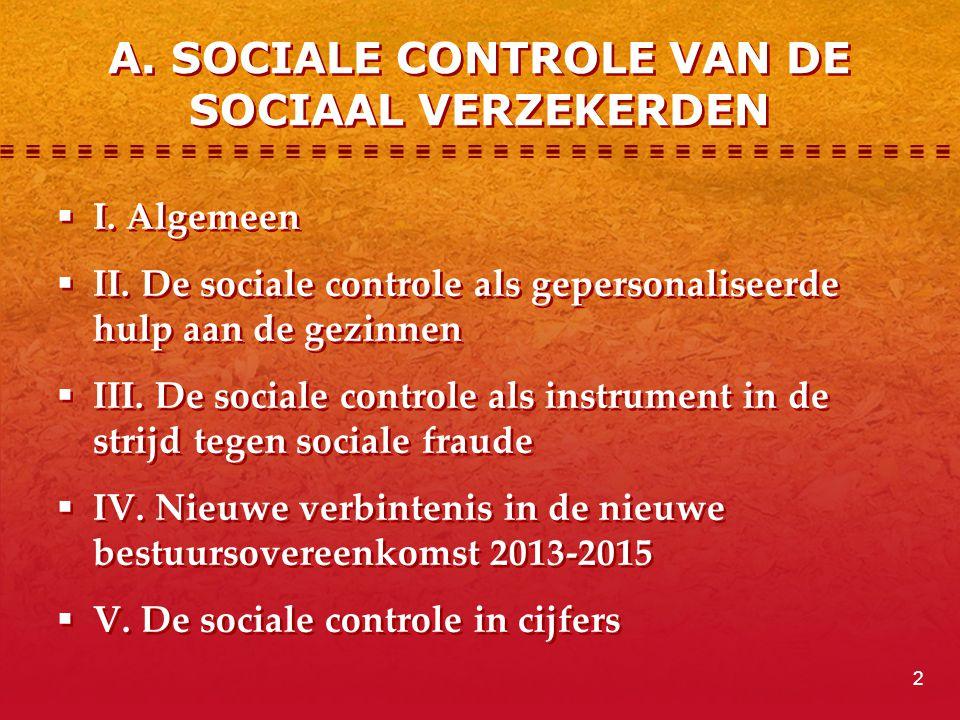 A. SOCIALE CONTROLE VAN DE SOCIAAL VERZEKERDEN  I. Algemeen  II. De sociale controle als gepersonaliseerde hulp aan de gezinnen  III. De sociale co