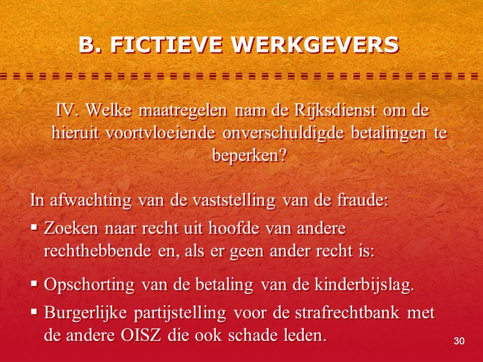 IV. Welke maatregelen nam de Rijksdienst om de hieruit voortvloeiende onverschuldigde betalingen te beperken? In afwachting van de vaststelling van de