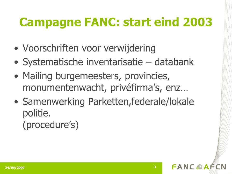 24/06/2009 3 Campagne FANC: start eind 2003 Voorschriften voor verwijdering Systematische inventarisatie – databank Mailing burgemeesters, provincies, monumentenwacht, privéfirma's, enz… Samenwerking Parketten,federale/lokale politie.