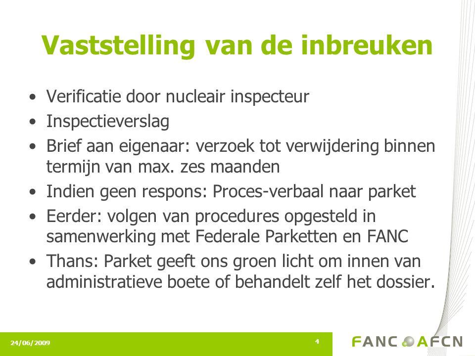24/06/2009 4 Vaststelling van de inbreuken Verificatie door nucleair inspecteur Inspectieverslag Brief aan eigenaar: verzoek tot verwijdering binnen termijn van max.
