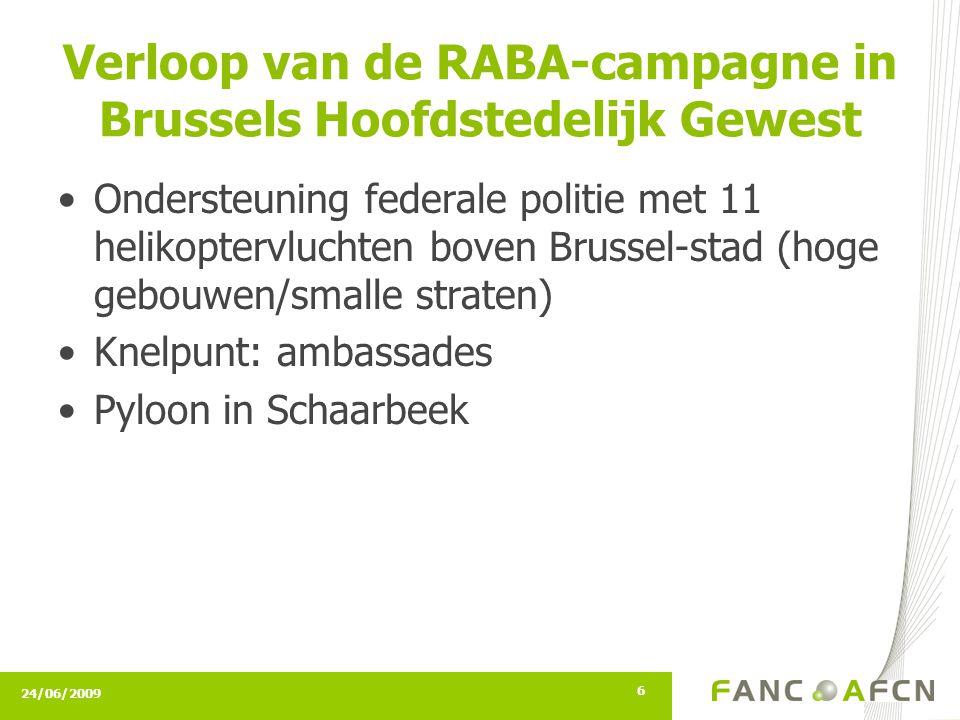 24/06/2009 6 Verloop van de RABA-campagne in Brussels Hoofdstedelijk Gewest Ondersteuning federale politie met 11 helikoptervluchten boven Brussel-stad (hoge gebouwen/smalle straten) Knelpunt: ambassades Pyloon in Schaarbeek