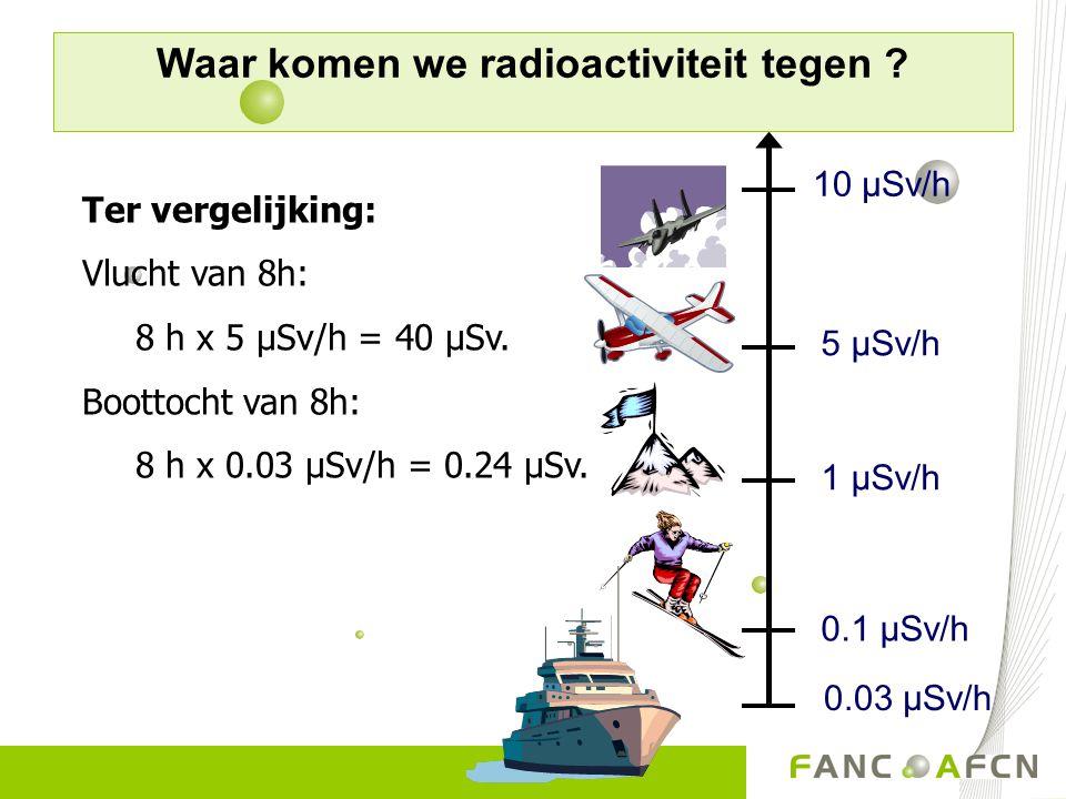 0.03 µSv/h 1 µSv/h 5 µSv/h 10 µSv/h 0.1 µSv/h Ter vergelijking: Vlucht van 8h: 8 h x 5 µSv/h = 40 µSv. Boottocht van 8h: 8 h x 0.03 µSv/h = 0.24 µSv.