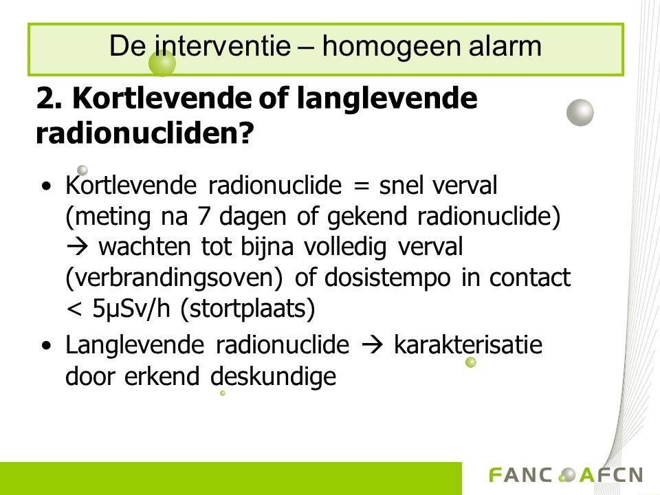 2. Kortlevende of langlevende radionucliden.