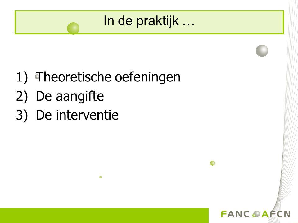 1)Theoretische oefeningen 2)De aangifte 3)De interventie In de praktijk …
