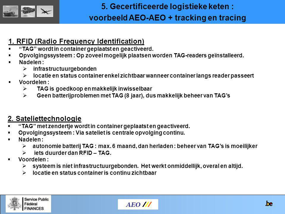 """AEO /// 1. RFID (Radio Frequency Identification)  """"TAG"""" wordt in container geplaatst en geactiveerd.  Opvolgingssysteem : Op zoveel mogelijk plaatse"""
