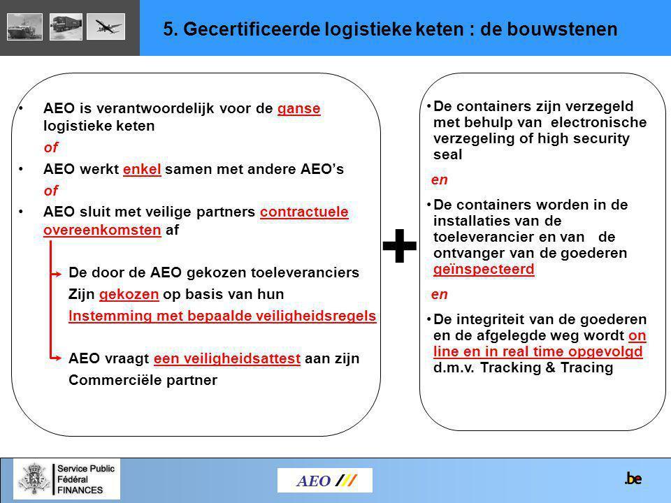 AEO is verantwoordelijk voor de ganse logistieke keten of AEO werkt enkel samen met andere AEO's of AEO sluit met veilige partners contractuele overee