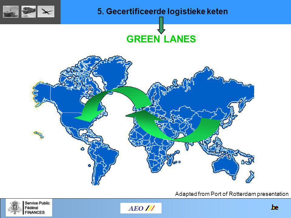 AEO /// Adapted from Port of Rotterdam presentation 5. Gecertificeerde logistieke keten GREEN LANES