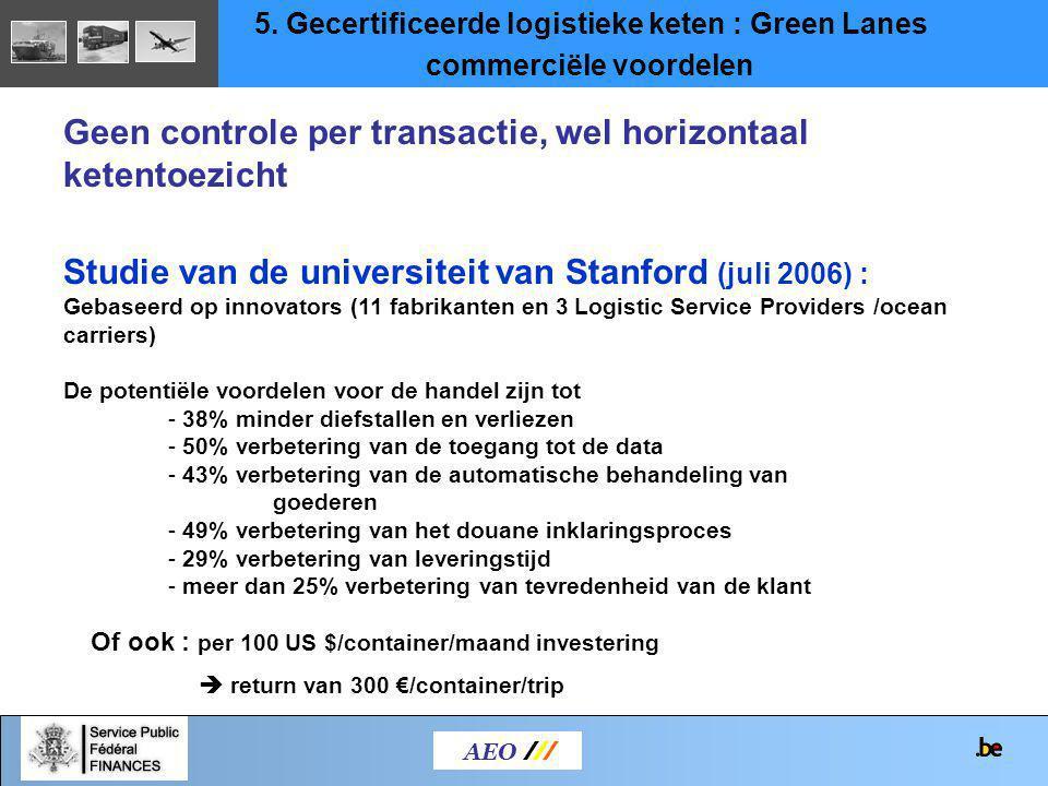 AEO /// Studie van de universiteit van Stanford (juli 2006) : Gebaseerd op innovators (11 fabrikanten en 3 Logistic Service Providers /ocean carriers)