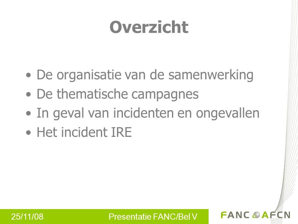 25/11/08 Presentatie FANC/Bel V Overzicht De organisatie van de samenwerking De thematische campagnes In geval van incidenten en ongevallen Het incident IRE
