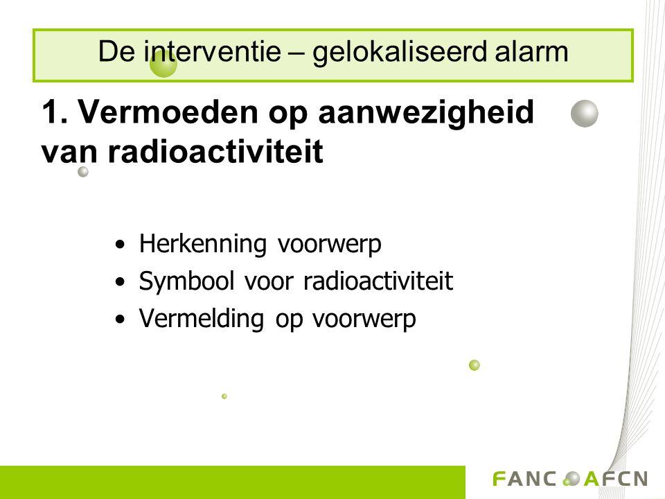 1. Vermoeden op aanwezigheid van radioactiviteit Herkenning voorwerp Symbool voor radioactiviteit Vermelding op voorwerp De interventie – gelokaliseer