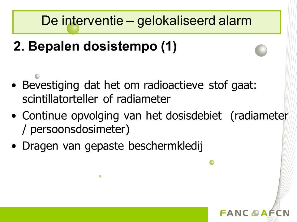 2. Bepalen dosistempo (1) Bevestiging dat het om radioactieve stof gaat: scintillatorteller of radiameter Continue opvolging van het dosisdebiet (radi