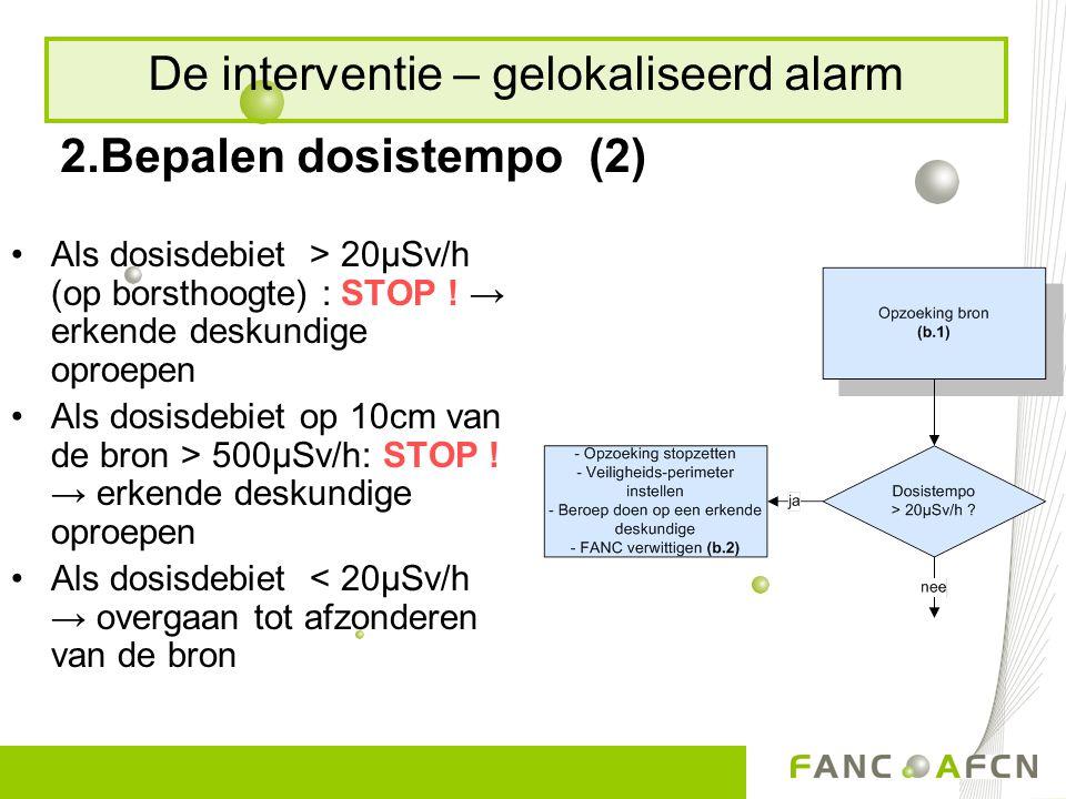 2.Bepalen dosistempo (2) Als dosisdebiet > 20µSv/h (op borsthoogte) : STOP ! → erkende deskundige oproepen Als dosisdebiet op 10cm van de bron > 500µS