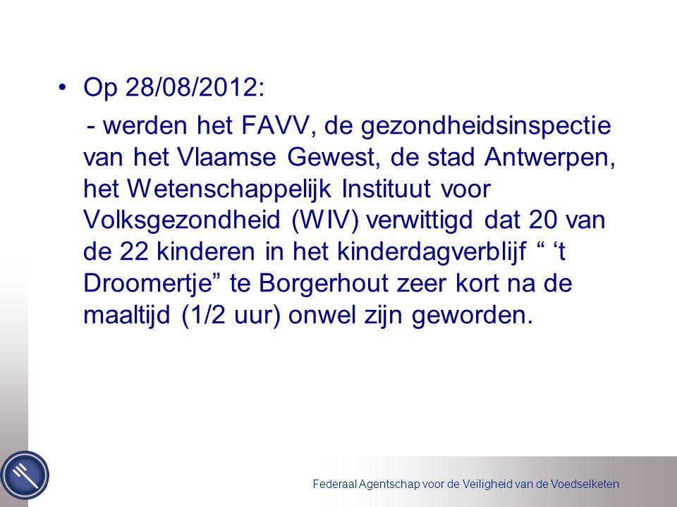 Federaal Agentschap voor de Veiligheid van de Voedselketen Onderzoek van het FAVV in het kinderdagverblijf op 28/08/2012  Onderzoek van de voedingsmiddelen : de maaltijd bestond uit gekookte rijst, gekookt witloof en gekookte komkommer.