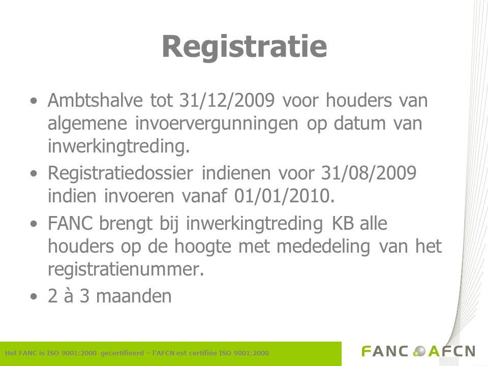 Vergunningen (1) Het FANC is ISO 9001:2000 gecertifieerd – l'AFCN est certifiée ISO 9001:2000 Invoervergunningen art.