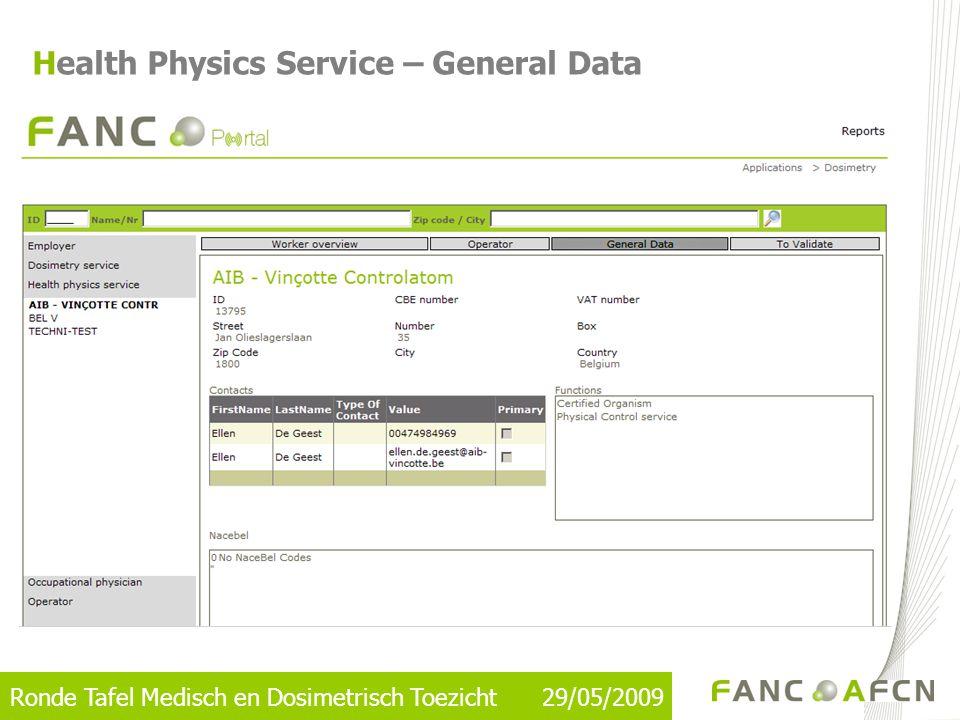 Ronde Tafel Medisch en Dosimetrisch Toezicht 29/05/2009 Health Physics Service – General Data
