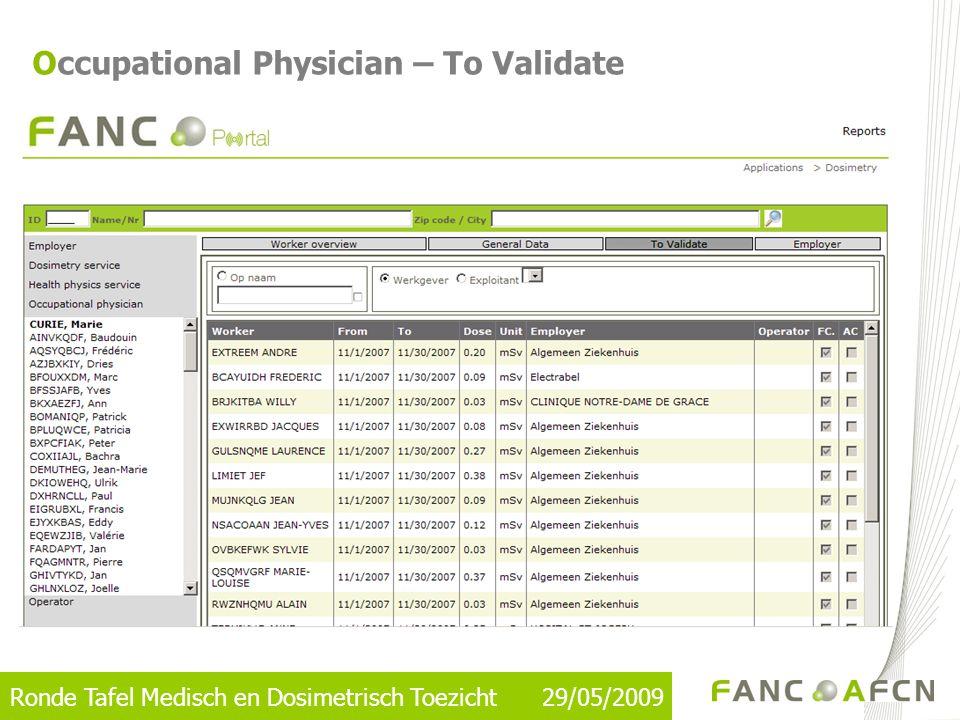 Ronde Tafel Medisch en Dosimetrisch Toezicht 29/05/2009 Occupational Physician – To Validate