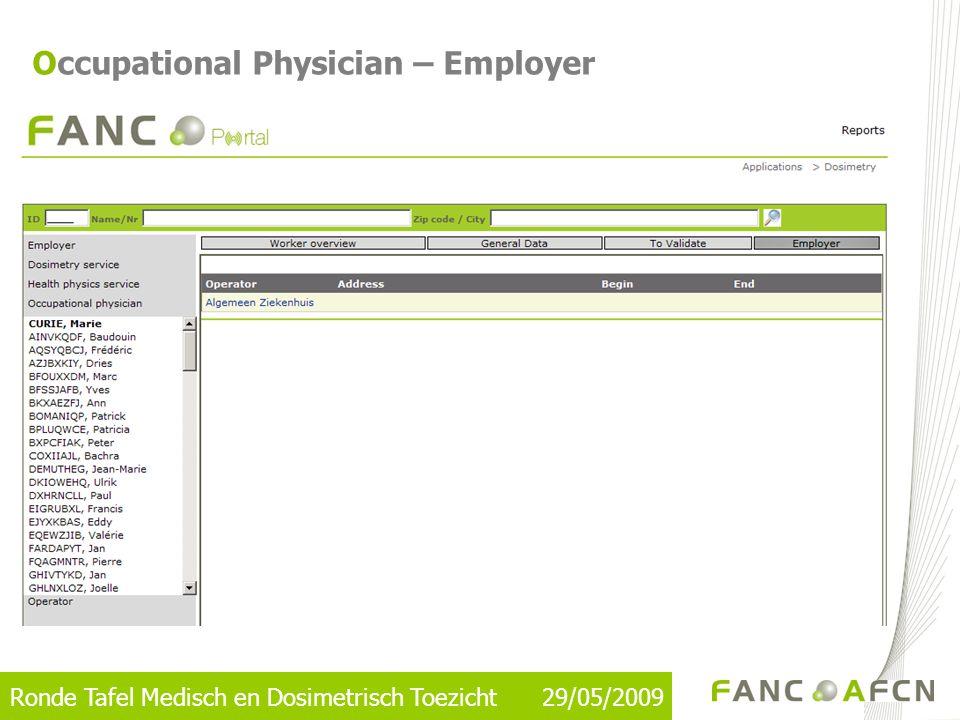 Ronde Tafel Medisch en Dosimetrisch Toezicht 29/05/2009 Occupational Physician – Employer