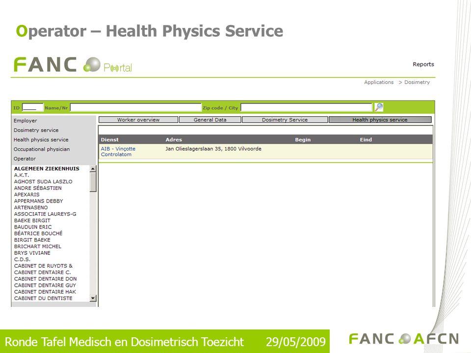 Ronde Tafel Medisch en Dosimetrisch Toezicht 29/05/2009 Operator – Health Physics Service
