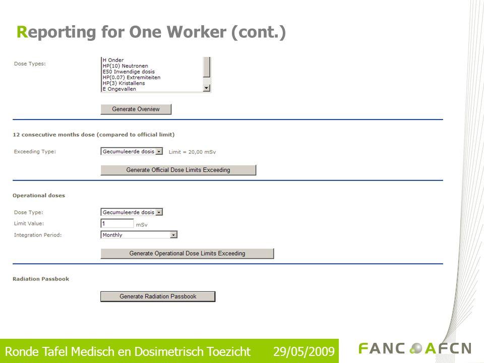 Ronde Tafel Medisch en Dosimetrisch Toezicht 29/05/2009 Reporting for One Worker (cont.)