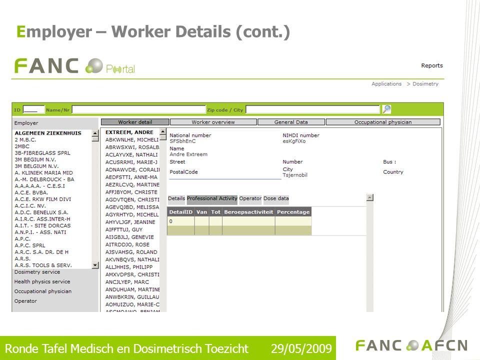 Ronde Tafel Medisch en Dosimetrisch Toezicht 29/05/2009 Employer – Worker Details (cont.)